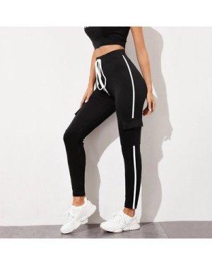 Tie Waist Flap Pocket Side Leggings