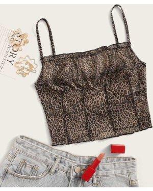 Frill Trim Crinkle Leopard Cami Top