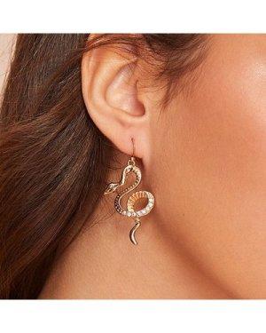 1pair Rhinestone Detail Snake Dangle Earrings