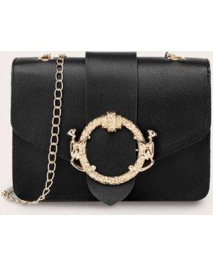 Metal Ring Decor Flap Chain Crossbody Bag