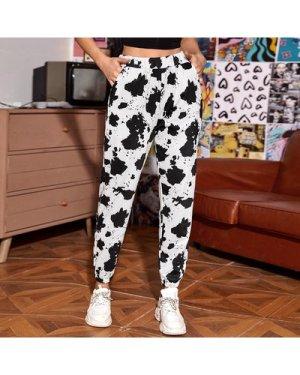 Cow Pattern Slant Pocket Sweatpants
