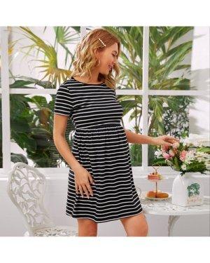 Maternity Elastic Waist Striped Dress