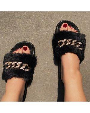 Rhinestone Chain Decor Faux Fur Slides
