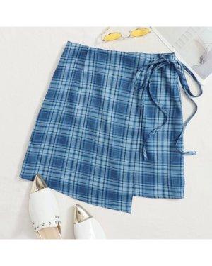 Wrap Tie Side Tartan Skirt