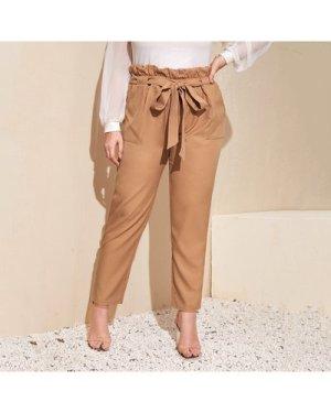 Plus Paperbag Waist Belted Pants