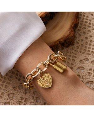1pc Lock & Heart Charm Chunky Chain Bracelet