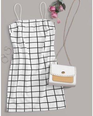Grid Print Cami Dress