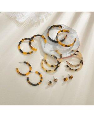 7pairs Leopard Pattern Earrings Set