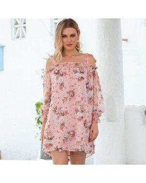 Cold Shoulder Knotted Floral Print Dress