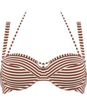 holi vintage plunge balcony bikini top | wired padded red-ecru - 40DD/E