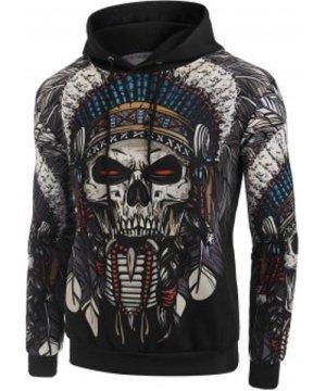 Indian Skull Tribal Print Casual Hoodie