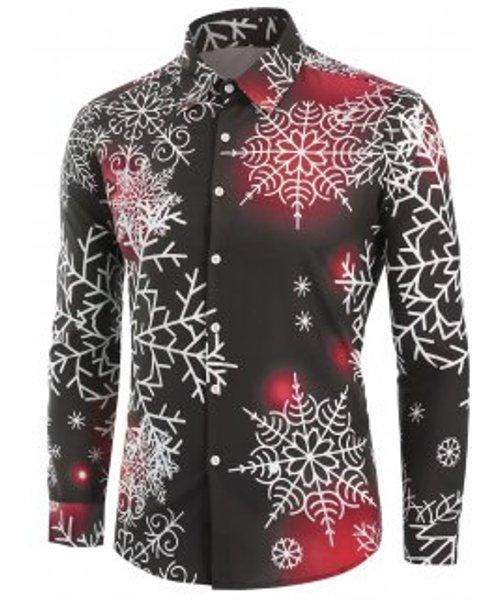 Christmas Snowflake Light Print Button Up Shirt
