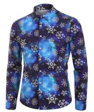 Christmas Snowflake Galaxy Print Button Up Shirt