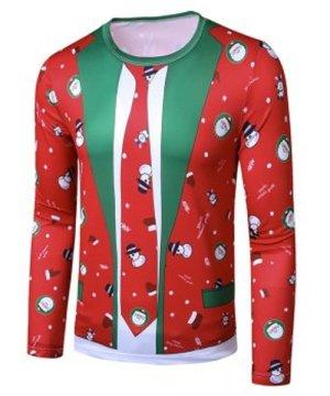 Christmas Santa Snowman Faux Suit Print Slim Crew Neck T Shirt