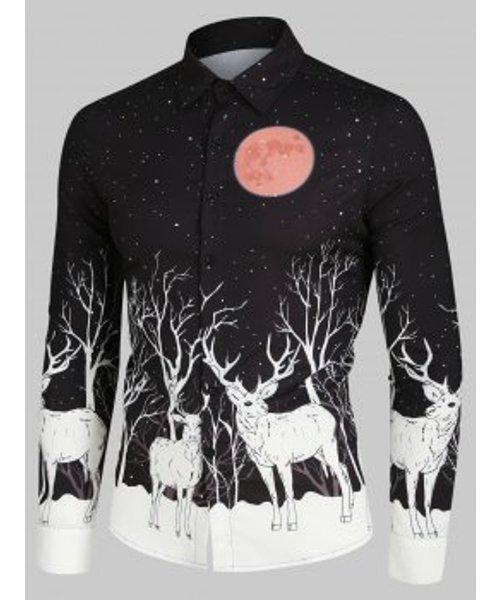 Christmas Elks Moon Night Print Button Up Long Sleeve Shirt