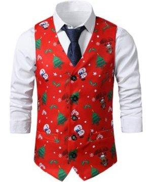 Christmas Tree Snowman Elk Print Single Breasted Waistcoat