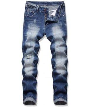 Distressed Destroy Wash Scratch Jeans