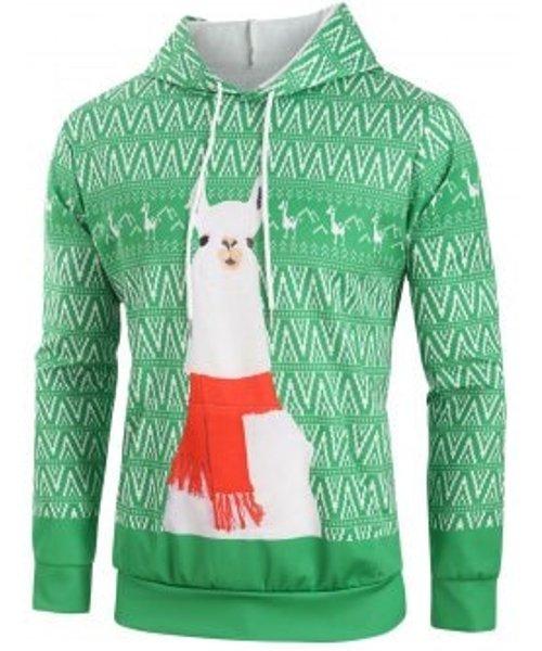 Christmas Sheep Geometric Print Drawstring Hoodie