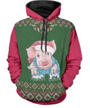 Christmas Pig Print Drawstring Hoodie