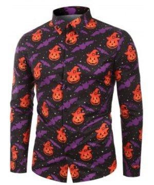 Pumpkin Bat Printed Long Sleeves Shirt