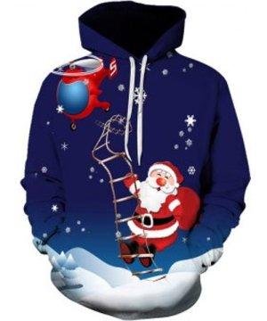 Santa Claus Snowflake Printed Hoodie