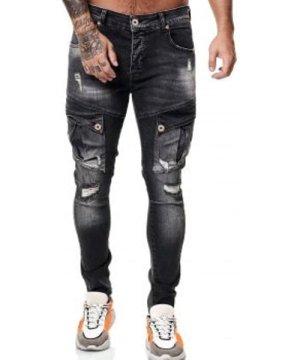 Destroy Wash Flap Pocket Long Jeans