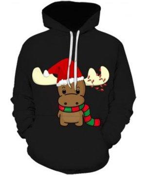 Christmas Elk Print Front Pocket Hoodie