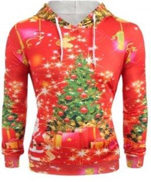 Christmas Tree Print Long Sleeve Hoodie