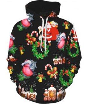 Santa Claus Bell Print Christmas Hoodie