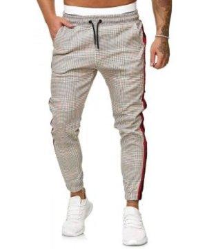 Houndstooth Print Side Stripe Jogger Pants