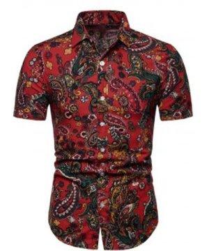 Floral Paisley Print Short Sleeve Shirt