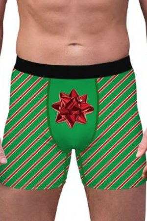 Stripes Printed Christmas Boxer Briefs