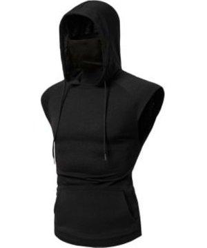 Bandana Mask Front Pocket Hooded Drawstring Tank Top