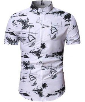 Palm Tree Dolphin Print Beach Shirt