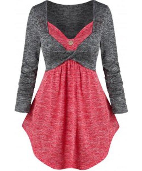 Twist Front Contrast Heathered 2 in 1 Knitwear
