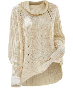 Plus Size Turtleneck Pointelle Knit High Low Sweater