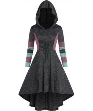 Colorblock High Waist High Low Hooded Dress