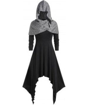 Plus Size Handkerchief Contrast Color Cloak Dress