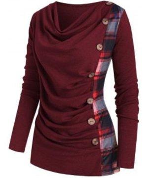 Plaid Insert Mock Button Cowl Neck Knitwear