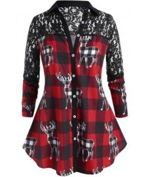 Plaid Lace Panel Elk Print Christmas Plus Size Shirt