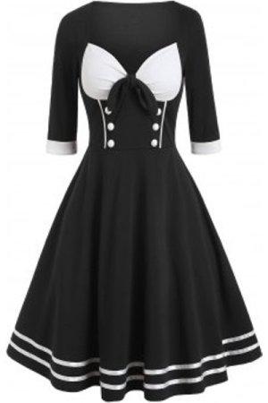 Mock Button Contrast Vintage Flare Dress