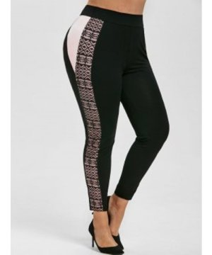 Lace Panel Contrast Side High Waisted Plus Size Leggings