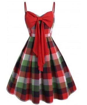Bowknot Plaid Cami Plus Size Mini Dress