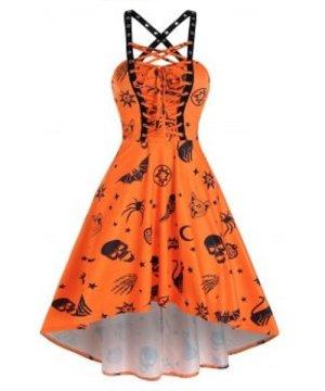 Skull Animal Print Cross Back Cami Dip Hem Dress