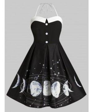 Plus Size Moon Star Halter Button Embellished Vintage Dress
