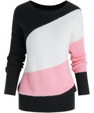 Plus Size Oblique Colorblock Blouson Sweater