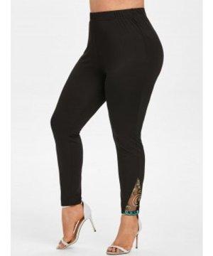 Plus Size Mesh Insert Embroidered Skinny Leggings
