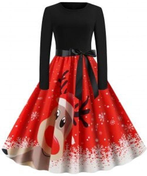 Christmas Cartoon Elk Snowflake Belted Long Sleeve Plus Size Dress