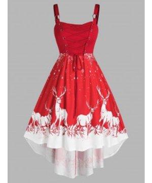 Plus Size Christmas Elk Snowflake Lace Up O Ring Dress