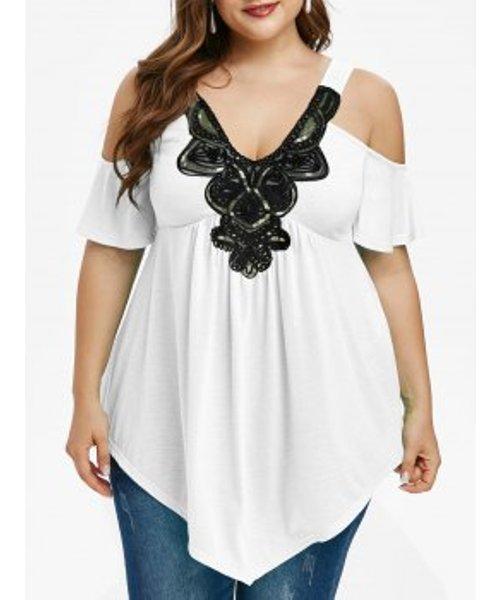 Plus Size Cold Shoulder Sequin Embellished V Neck T Shirt